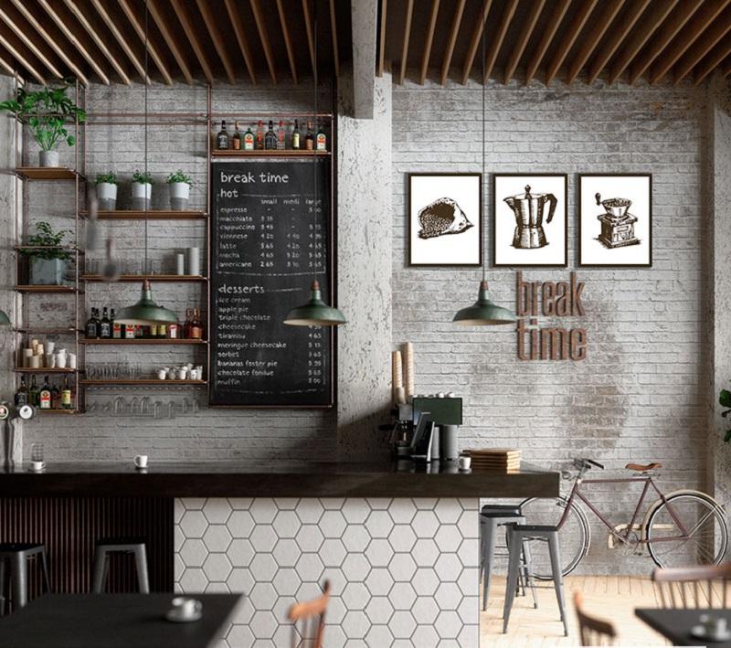 Decor quán cafe đơn giản với tranh canvas