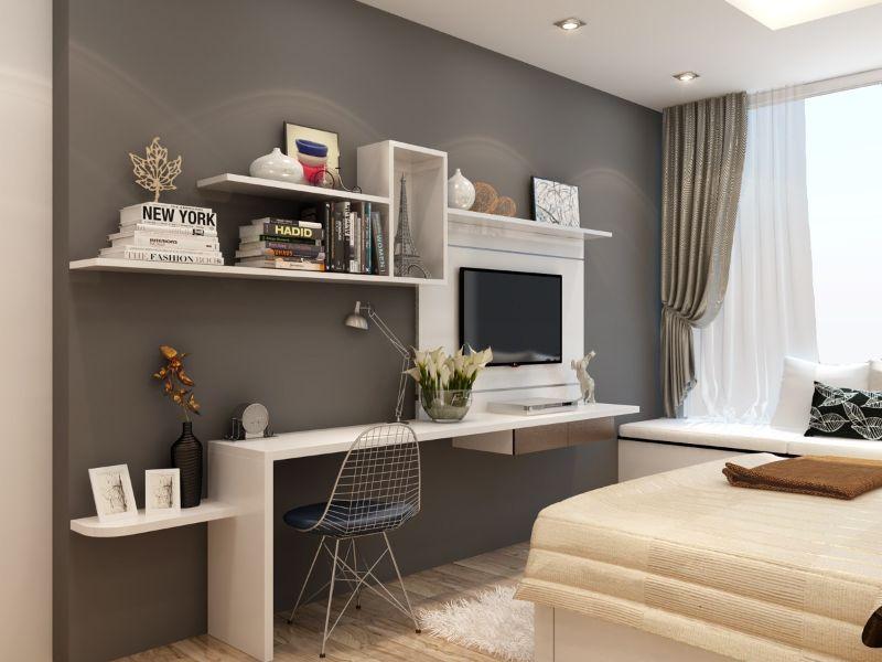Sử dụng kệ tủ treo tường hoặc âm tường trang trí