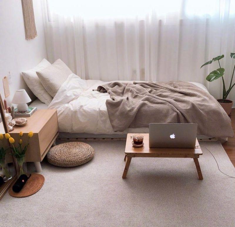 Rèm xuyên thấu được xuất hiện nhiều trong decor phòng ngủ Hàn Quốc