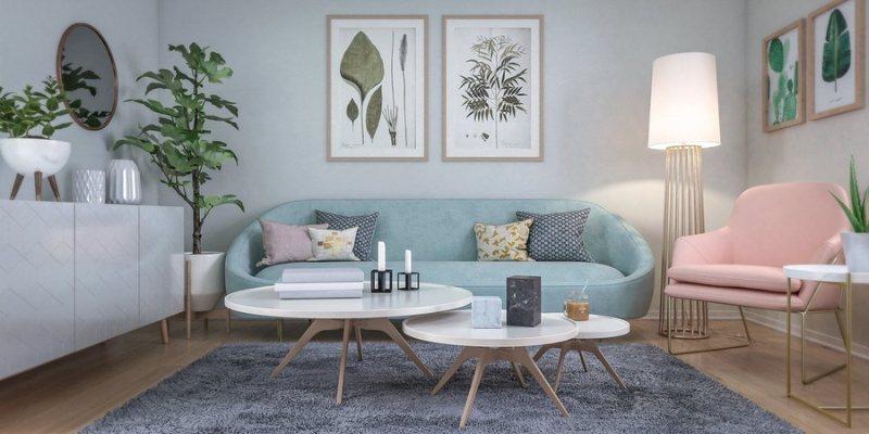 Decor phòng khách bằng thảm trải sàn